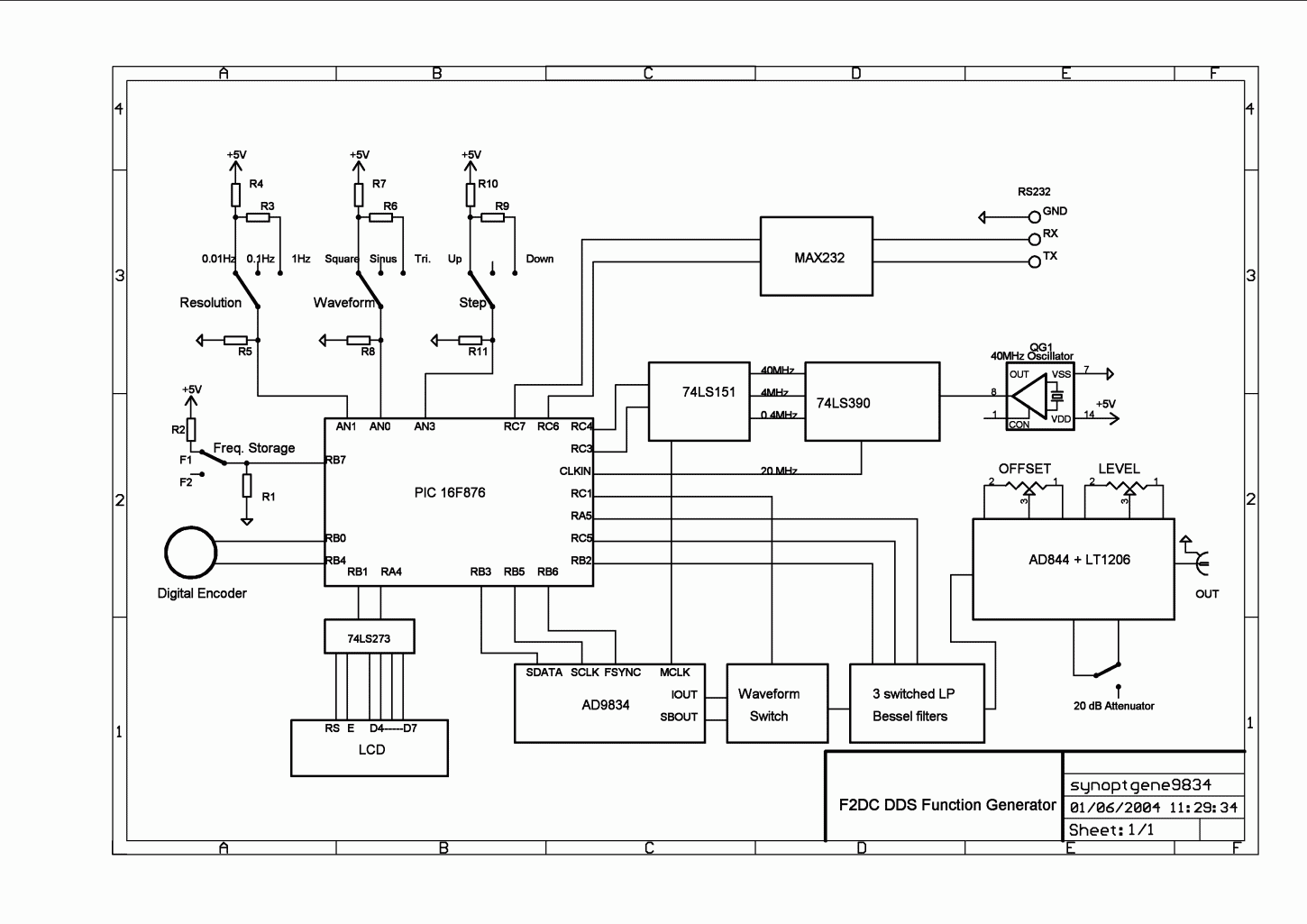 Dds Signal Generator High Frequency Function Circuit Schematic Diagram Block